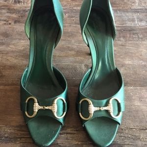 Gucci Emerald Satin Evening Pumps Size 7B